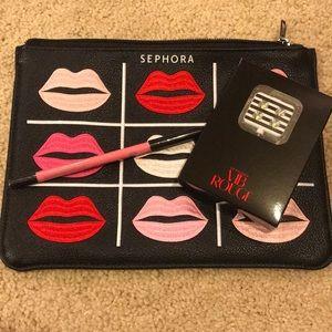 Sephora makeup bag, phone Spotlight and lip liner